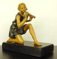 Géo Maxim Figure féminine avec double flûte sculpture art déco c1930 woman H22cm