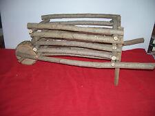 "Homemade Willow Wheelbarrow 32"" long x 15""x 13"" Wheel Turns"