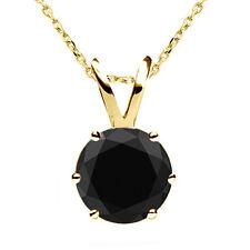 1.25 Carat Natural Black Diamond 6 Prong 14K Yellow Gold Solitaire Necklace