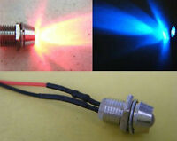 2pcs,Red & Blue Flash 5mm Pre-Wired Bike Motor 9v-12V LED + Metal Holder Bezel