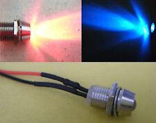 10pcs,Red & Blue Flash 5mm Pre-Wired Bike 9v-12V LED + Metal Holder Bezel,12RB