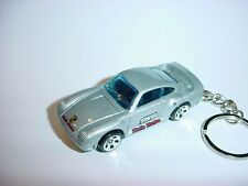 NEW 3D SILVER PORSCHE 959 TURBO CUSTOM KEYCHAIN keyring key racing BLING fast
