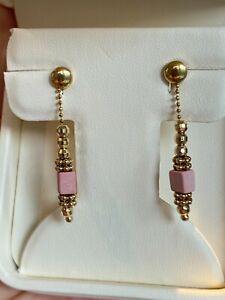 Gold 10 ct drop earrings with natural pale pink coral