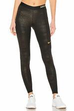 Nike Pro Women Metallic Tights Black Gold Size Medium New 932397 010