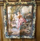 Vintage Woven Tapestry Wall Hanging Victorian Courting Couple French Art Decor