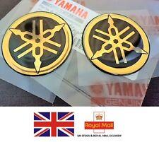 2 x YAMAHA 100% GENUINE 45mm TUNING FORK BLACK + GOLD DECAL EMBLEM STICKER BADGE