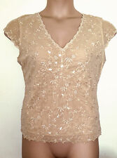 NEXT NUDE BEIGE CAMEL EMBROIDERED SEQUINNED LINED V NECK MESH TOP 16