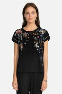 Johnny Was Cyllene Black Galaxy Stars Top Tee Cotton Flowers Embroidery M NEW