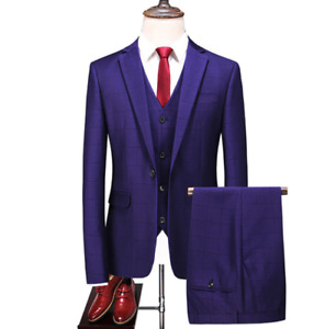 3 Pcs Mens Wedding Business Suits Slim Fit One Botton TailoredCollar Office New