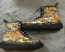 Dr. Doc Martens Snake Skin Print Leather Boots England Womens Size US 6 UK 4