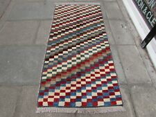 Vintage Traditional Hand Made Oriental Red Blue Wool Gabbe Runner 193x90cm