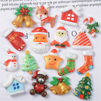 Random 2-3cm Christmas Glitter Embellishments Resin Cabochons Decors 10 pcs Pack