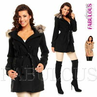 New Women's Winter Coat Belted Jacket Hood Outerwear Size 6 8 10 12 XS S M L