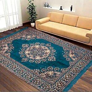 Beautifully Designed Floral Velvet Carpet(5x7 ft,Sky Blue) Looks Elegant In Room