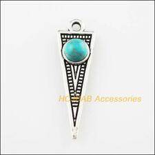 10 New Triangle Charms Turquoise Tibetan Silver Tone Pendants Retro 9x28.5mm