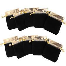 10x Sac Pochette Bijoux Cadeau Velour Rangement Serrage Corde Noir 8x10cm