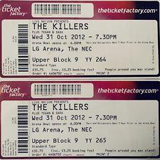 The Killers - 31st October 2012 Concert TWO Ticket Stubs NEC Birmingham *RARE*
