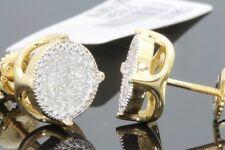 .27 CARAT YELLOW GOLD FINISH MENS WOMENS 9mm 100% REAL DIAMONDS EARRINGS STUDS