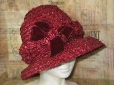 "Antique Rafia Red Straw Cloche Hat-Vintage Chapeaux Hat orig by ""FIELD & SCHLICK"