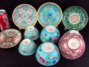 IMPRESSIVE Chinese Oriental Porcelain Oriental Famille Rose Bowls Dishes