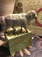 """Cast Iron-Sheep/Lamb Bank-Distressed/Chippy-5.5""""L X 3.25""""H-French/Cottage! LOOK!"""
