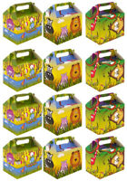 Jungle Animal Paper Lunch Box Going Home Present Picnic Boxes 12x Value Pack