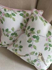 """2 Laura Ashley Aviary Garden Fabric Cushion Covers Piped 16""""  Green/Pink"""