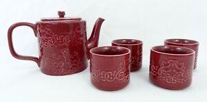 Teavana Teapot Set Red Rohan 18 Oz 4 Cups and Strainer Original Box