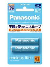 New! 2 Panasonic Eneloop Lite Batteries AA 5000 Times Rechargable Battery 950mAh
