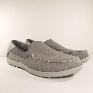 Crocs 202056 Santa Cruz 2 Luxe Loafers Gray Canvas Slip On Shoes Men's Size 12