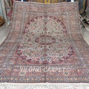 YILONG 10'x14' Handmade Silk Rug Luxury Antistatic Oriental Carpets MC297A