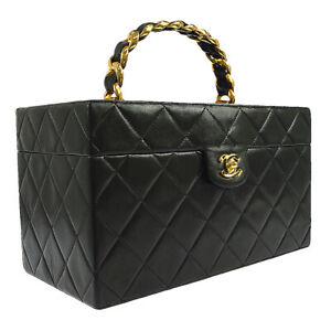 CHANEL Quilted Chain Hard Cosmetic Vanity Hand Bag Black Leather 2348842 B31762b