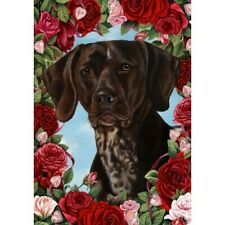 Roses House Flag - German Shorthaired Pointer 19049