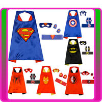 4PCS Boys Superhero Party Costume Child Kids Book Week Mask Cape Cuff Belt Set