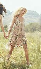 BNWT H&M FLORAL EMBROIDERED SHEER POWDER BEIGE DRESS (RARE XS/S) (8-12) SOLD OUT