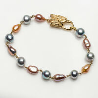 6-8mm Multicolor Akoya Pearl Freshwater Keshi Pearl Bracelet 925 Sterling Silver