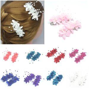 2 pcs Blooming Babies Breath Flower Girl Bridal Hair Pins