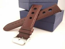 22 mm Brown Perforated Calf Type Leather Watch Strap Band