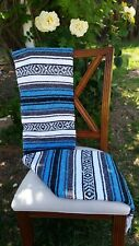 Mexican Blanket Falsa Ocean Blue and White, Southwestern Beach Yoga