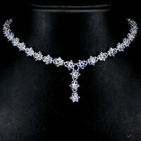 Sterling Silver 925 Genuine Natural Blue Violet Tanzanite Flower Necklace 20 In