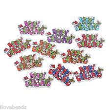 "50PCs ""MEERRY CHRISTMAS"" Mixed Wood Button 2-Holes Scrapbooking Craft 1.8x3.5cm"