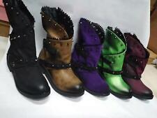 Women's Vintage Rivet Plain Biker Boots Autumn Winter Warm Casual Comfy Shoes