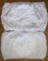2 LUSH DECOR White Polyester Ruffle Flower STANDARD PILLOW SHAM Shabby Chic