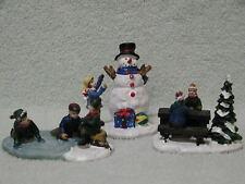 Cobblestone Corners Christmas Village Skating Pond Snowman Picnic Table