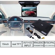 NEW  15.4'' LCD TFT Roof Mount Ceiling Flip Down Car Monitor TV DVD Player  SK