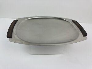 Danish MCM Denmark stainless steel rectangular tray with Teak wood handles Sleek