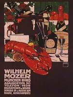 WILHELM MOZER DELI LOBSTER WINE MUNICH GERMANY VINTAGE ADVERT POSTER ART 1589PY