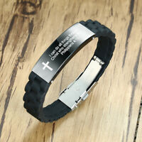 Inspirational Silicone Wristband Men's Bracelet Personalized Cross Bible Prayer