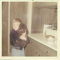 A Boy And His Dog 1960s 1970s COLOR FOUND PHOTO Original Snapshot VINTAGE 03 8 O