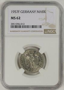 1957F Germany 1 Mark KM# 110 NGC MS62